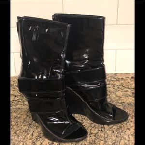 Givenchy Patent Leather Wesge Boots Size 40